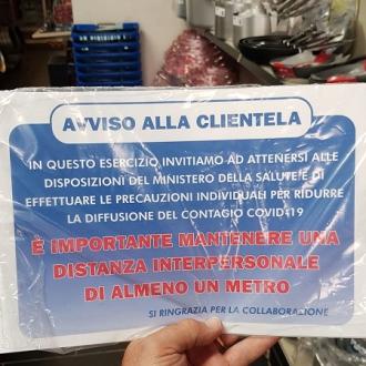 COMPLEMENTI DA ARREDO ,CARTELLO AVVISO CLIENTELA PVC ADESIVO CM.30X20